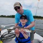 My seven-year-old son and I went fishing with Captain Brian and we had a great time.