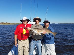 Three men hold up their Redfish caught on Fernandina Beach Fishing Charter